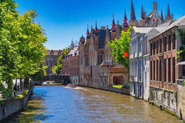 Foto op Canvas Brugge Beautiful city Bruges (Brugge) old town in Belgium, Europe