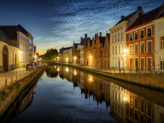 Wall Murals Bridges Noctilucent clouds (night shining clouds) at city Bruges (Brugge) old town in Belgium in the dusk, Europe