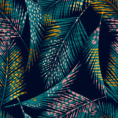 Trendy seamless exotic pattern with palm, animal prints and hand drawn textures
