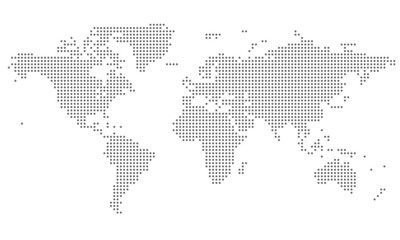 Dotted World Map - grey Fototapete