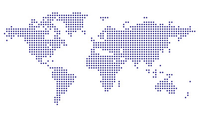 Dotted World Map - blue  Wall mural