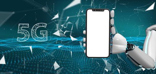 Fototapete - Robot Hand Smartphone 5G Network