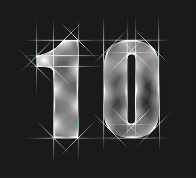 luxury abstract scintillation emerald crystal glass number 10 ten character. gray tone background. vector illustration eps10