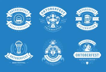 Oktoberfest badges and labels set vintage typographic design templates vector illustration. Wall mural