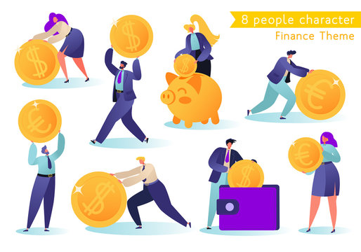 Flat, сartoon, vector Illustration collection. Different successful people characters making money. Business and finance, saving money theme. Career, salary, earnings profit.Corporate business people