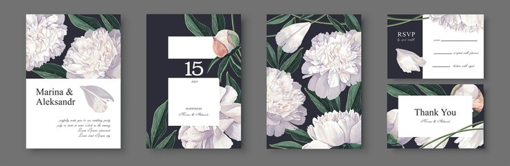 Botanical wedding invitation card. Template design with white peonies  flowers and leaves. Modern, realistic style, hand drawn illustration. Collection of Save the Date and RSVP in vector EPS format.