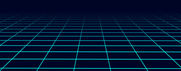 Obraz Perspective blue grid background. Abstract futuristic grid 1980s style. Vector illustration. - fototapety do salonu