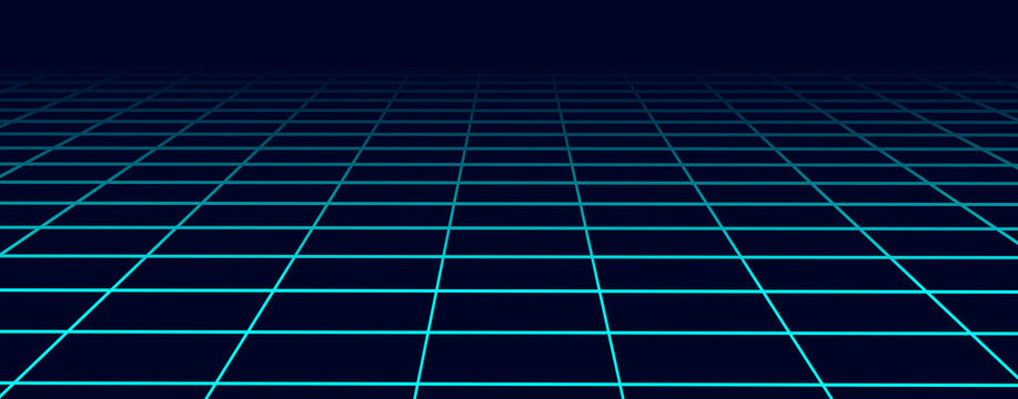 Perspective blue grid background. Abstract futuristic grid 1980s style. Vector illustration.