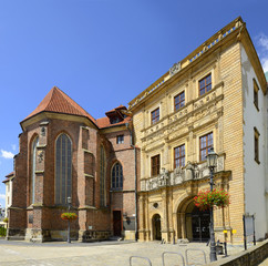 """Poland, Brzeg - Chapel and decorated gateway of old Piast Castle in Brzeg Historical City Center Near the Market Square. The rebuilt castle is also called """"The Silesian Wawel""""."""