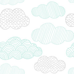 Doodle clouds vector seamless pattern. Hand drawn graphic tileable background.