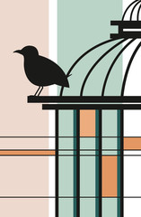 Printed roller blinds Birds in cages ptak