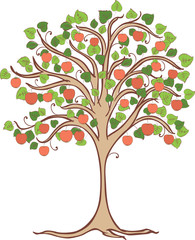 Vector image of an apple tree with ripe red apples