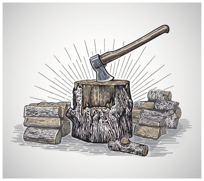 Ax in a wooden stump surrounded by chopped logs, illustration in a graphic style and painted in color