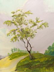 Foto op Canvas Meloen Beautiful Original Oil Painting Landscape On Canvas