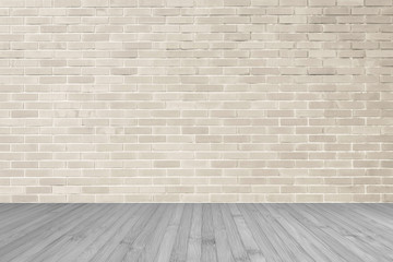 Cream brown brick wall textured background with wooden floor in sepia grey for interiors