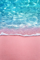 Fototapete - tropical pink sandy beach and clear turquoise water