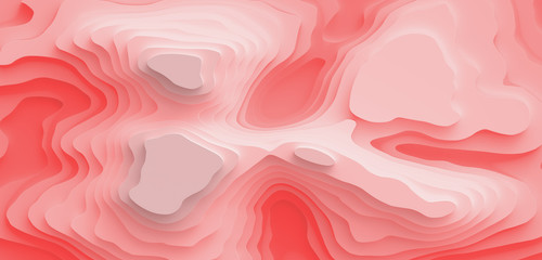 Foto auf Leinwand Rosa hell 3D Landscape Paper Cut style. Curved shapes with living coral red gradient. Abstract geometric lines pattern background art illustration for cover, design, book, poster, flyer