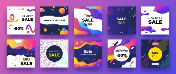 Square social media banner. Fashion sale design, promotion graphic layout template. Vector trendy newsletter discount ad mockup
