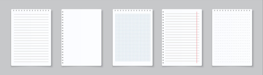 Fototapeta Realistic lined notepapers. Blank gridded notebook papers for homework and exercises. Vector pads paper sheets with lines and squares for memo