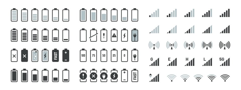 Battery icons. Black charge level gsm and wifi signal strength, smartphone UI elements set. Vector full low and empty charge status, smart sign progression load