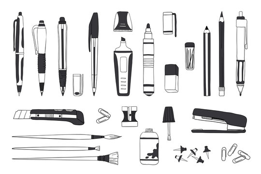 Hand drawn stationery. Doodle pen pencil and paintbrush tools, school and office accessories sketch. Vector illustrations sketch stationery set for calligraphy or office work