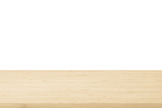 Wood table top texture in light natural cream beige brown color tone isolated on white background.