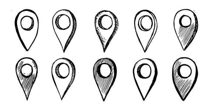 Map pointer vector hand drawn illustration