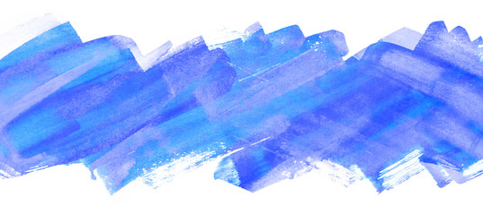 Watercolor blue strip with paper texture, watercolor hand drawing multilayer. Bar, band horizontal element background for design, greeting card, web design and printing. drawn by brush uneven edges