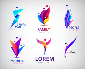 Vector set of men, people group, family logos. Child adoption logo collection and charitable foundations