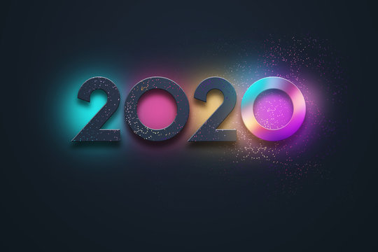 Creative Design, Happy New Year, Neon Numbers 2020 Design. Merry Christmas. 3D Illustration, 3D Rendering