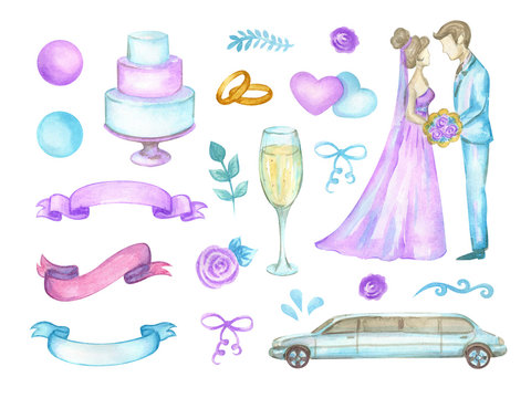 Watercolor set of isolated elements for wedding design. Wedding invitation card template. Wedding collection, ring, bride and groom, cake, ribbons and champagne.