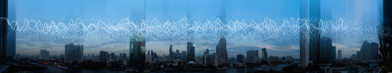 Wireless network and Connection technology concept with Abstract Bangkok city background in panorama view Fototapete