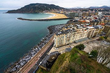 Aerial cityscape of San Sebastian viewed from Mount Urgull, Basque Country, Spain