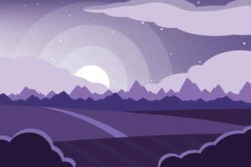 Wall Murals Purple Horizontal romantic rural landscape. Farmland vector illustration