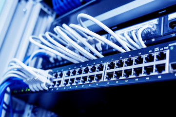 Network switch and ethernet cables in red and white colors. Data Center Wall mural