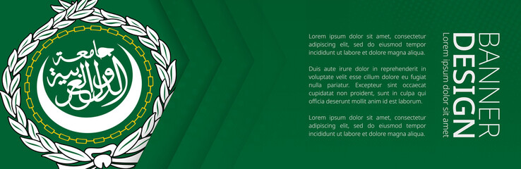 Wall Mural - Banner template with flag of Arab League for advertising travel, business and other.