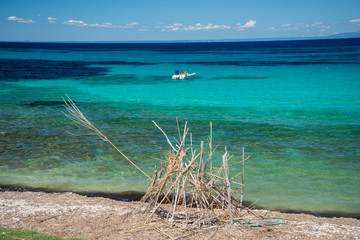 Wall Murals Green coral Holidays in Croatia, blue lagoon with clear water