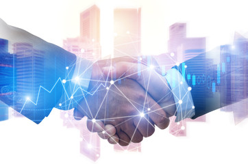 double exposure image of investor business man handshake with partner with digital network link connection and graph chart of stock market and cityscape background, investment and partnership concept