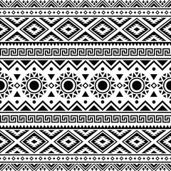 Ikat Aztec ethnic seamless pattern design in black and white color. Ethnic Illustration vector.