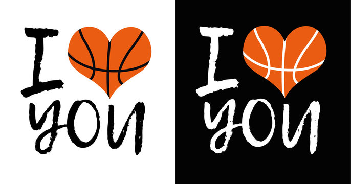 I love you slogan for t shirt printing design. Heart shaped basketball ball vector illustration.
