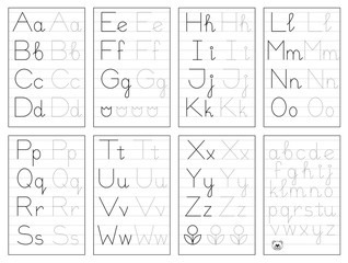 Set of black and white educational pages on line for kids. Trace alphabet letters. Printable worksheet for children textbook. Developing skills of writing. Vector for baby book. Back to school.