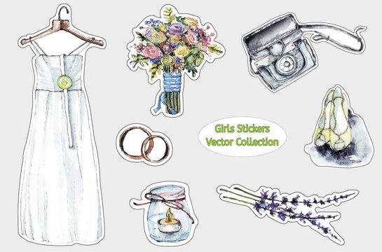 Set of cool stickers for girls with wedding symbols