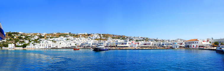 panoramic view of the port of Mykonos, the famous Greek island of Cyclades in the heart of the Aegean Sea