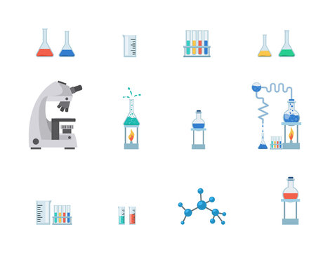 Lab equipment flat vector illustration set. Test tubes, chemistry beakers with liquids, measuring cup isolated on white background. Laboratory microscope, flasks heating system, molecule structure