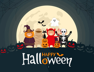 Happy Halloween kids in costumes. Mummy, ghost, skeleton, devil, pumpkin and black cat cartoon characters on the moonlight background. Vector illustration.