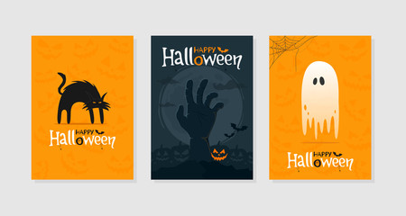 Set of Happy Halloween greeting cards or poster. Spooky black cat, zombie hand, ghost, traditional symbols. Vector illustration.