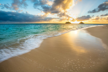 Wall Mural - Beautiful Sunrise at Lanikai Beach in Kailua