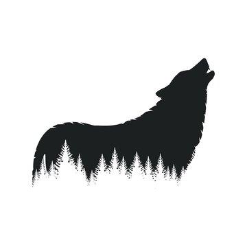 Wild wolf silhouette