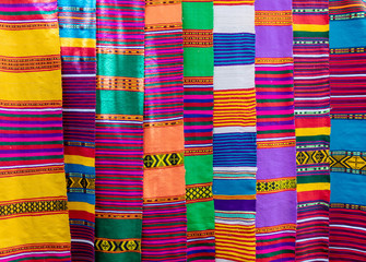 Traditional Ethiopian textiles, hand made colorful scarf on market, Lake Tana Ethiopia