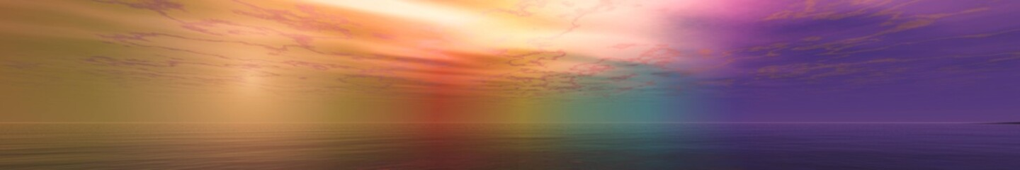 Panorama of a beautiful sunset, shine over the sea, abstract background, 3D rendering